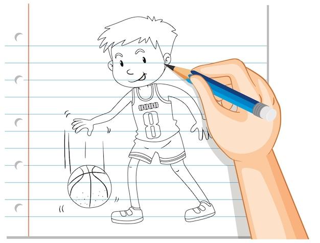 Desenho à mão de jogador de basquete
