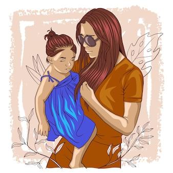 Desenho à mão de mãe segurando seu filho para o dia das mães a