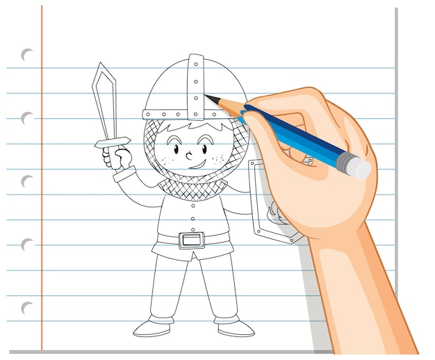 Desenho à mão de menino com contorno de fantasia de cavaleiro