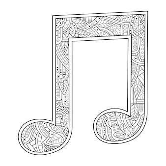 Desenho à mão de notas musicais em estilo zentangle