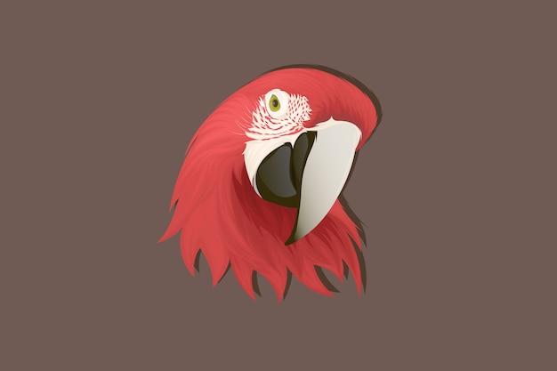 Desenho à mão de papagaio vermelho de estilo realista
