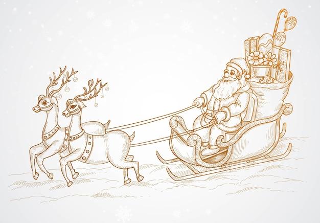 Desenho à mão de papai noel voador e renas de natal