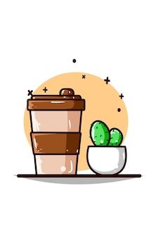 Desenho à mão de planta de café e cacto