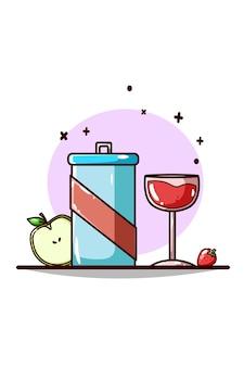 Desenho à mão de refrigerante, cerveja, maçã e morango