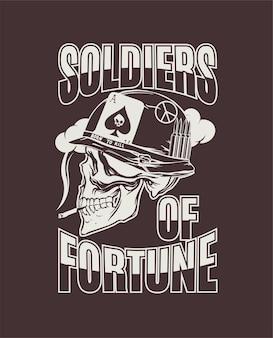 Desenho à mão de soldado americano durante a guerra do vietnã para impressão em vetor de moletons de camiseta