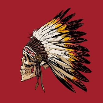 Desenho à mão de um crânio em um cocar de um índio apache para camisetas hoodies design vector