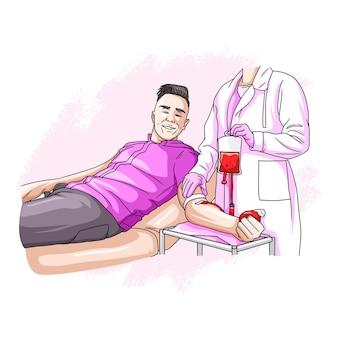 Desenho à mão de um homem doando sangue para o dia mundial da humanidade