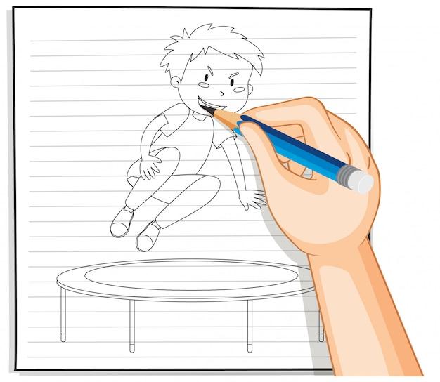 Desenho à mão de um menino pulando na cama elástica