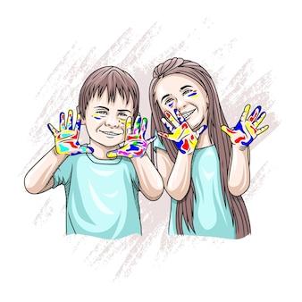 Desenho à mão de uma criança brincando no dia mundial da criança