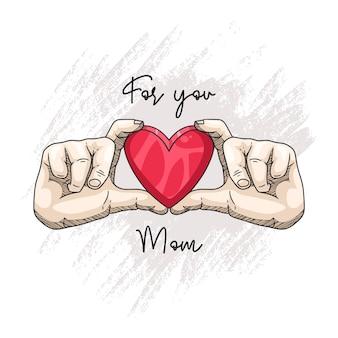 Desenho à mão de uma criança segurando um pequeno coração vermelho para o dia das mães
