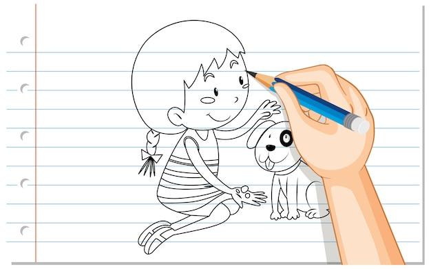 Desenho à mão de uma linda garota com o contorno de um cachorro