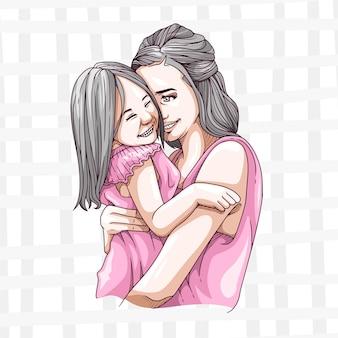 Desenho à mão de uma mãe e filho para o dia das mães 1