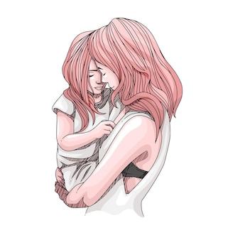 Desenho à mão de uma mãe e filho para o dia das mães 5