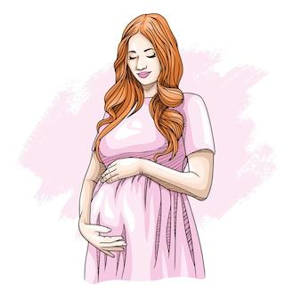 Desenho à mão de uma mãe grávida no dia das mães