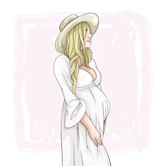 Desenho à mão de uma mãe grávida para o dia das mães e