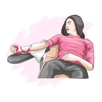 Desenho à mão de uma mulher doando seu sangue para o dia mundial da humanidade
