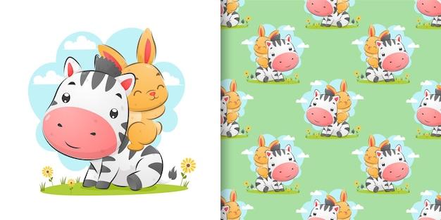 Desenho à mão de zebra e coelho brincando no jardim em ilustração colorida