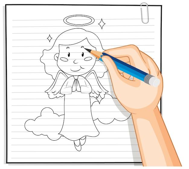 Desenho à mão do contorno de um anjo