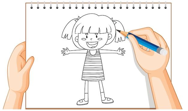 Desenho à mão do contorno de uma garota feliz