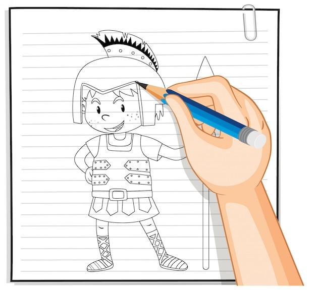 Desenho à mão do contorno dos desenhos animados do cavaleiro