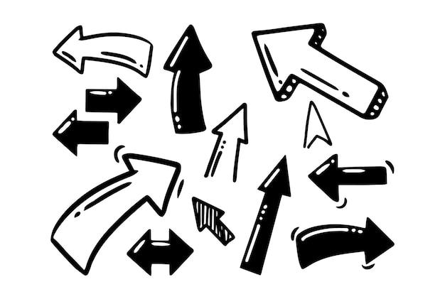 Desenho à mão do estilo doodle setas preto e branco de ponteiros de formas diferentes vetor isolado