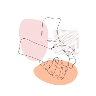 Desenho à mão do pai segurando a mão do filho para o dia dos pais em estilo de linha de arte 3
