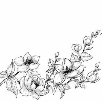 Desenho à mão e desenho floral decorativo
