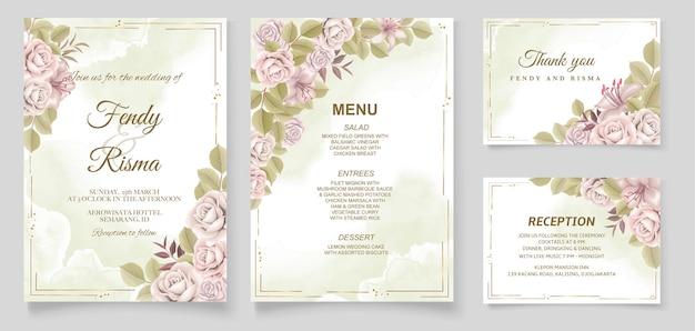 Desenho à mão elegante para convite de casamento design floral