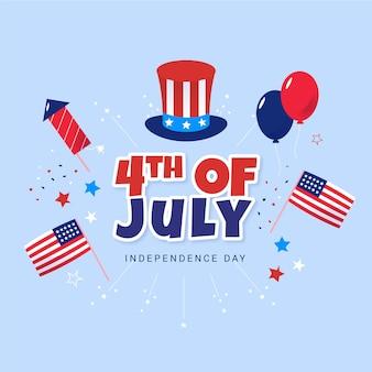 Desenho à mão em 4 de julho - ilustração do dia da independência