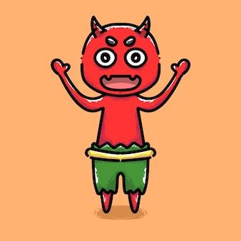 Desenho a mão fofa de demônio na cor vermelha