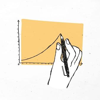 Desenho à mão - gráfico de linha - clipart de doodle de negócios