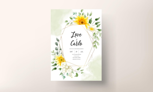 Desenho à mão lindo design floral de cartão de casamento