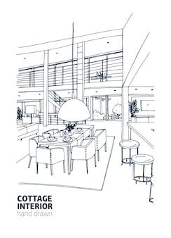 Desenho à mão livre do interior de uma casa residencial ou chalé de verão decorado no moderno estilo escandinavo