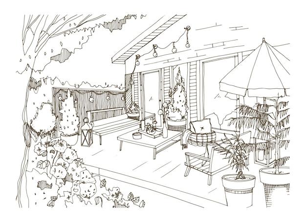 Desenho à mão livre do pátio traseiro decorado no estilo scandic hygge
