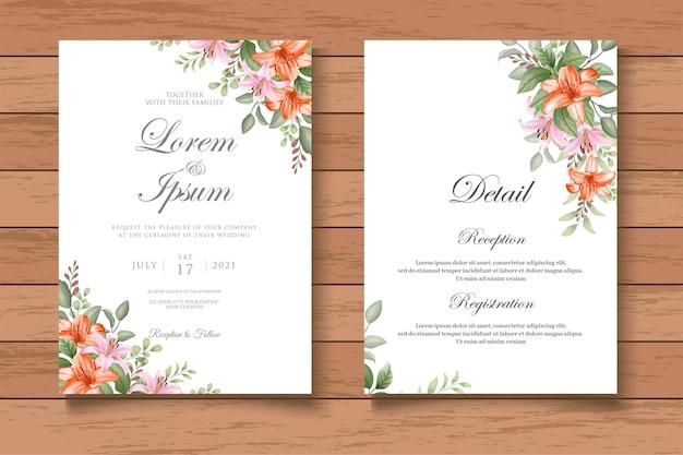 Desenho à mão modelo floral de convite de casamento