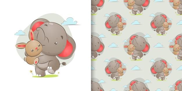 Desenho à mão perfeita de elefante brincando com um coelho fofo na ilustração do jardim