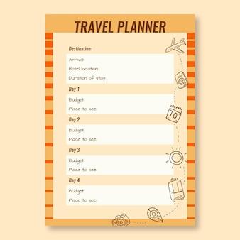 Desenho à mão vintage para explorar o modelo de planejador de viagens pelo mundo