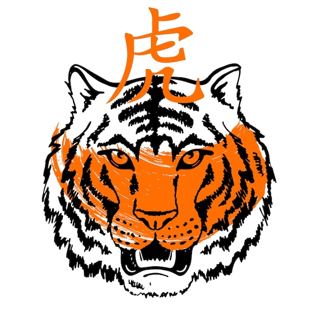 Desenho a tinta de rosto de tigre chinês feliz ano novo 2022 ano novo lunar desenho de tigre
