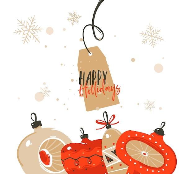 Desenho abstrato à mão feliz natal Vetor Premium