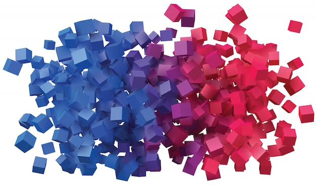 Desenho abstrato com cubos coloridos.