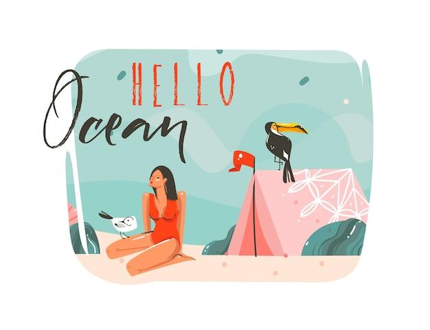 Desenho abstrato de desenhos animados de verão, ilustrações gráficas de fundo de arte com paisagem de praia do oceano, tenda rosa, pássaro tucano e garota da beleza