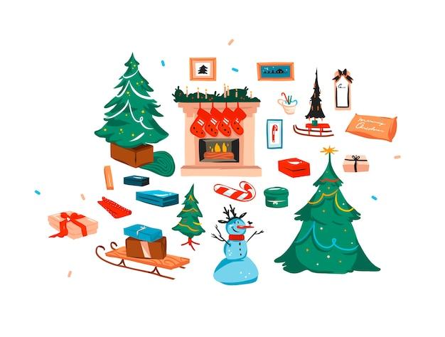 Desenho abstrato de estoque plano feliz natal