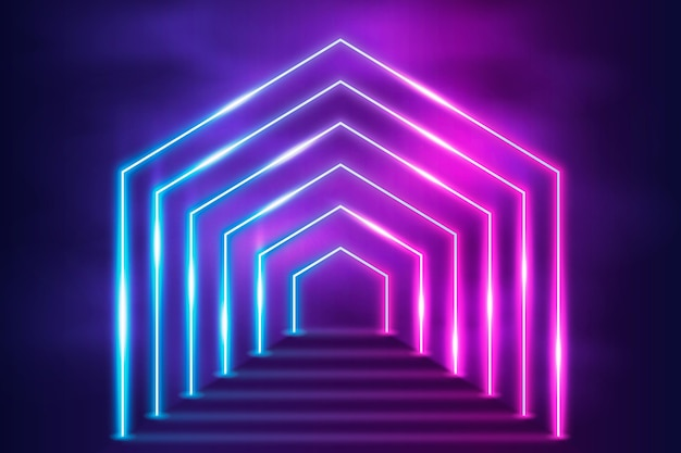 Desenho abstrato de luzes de néon