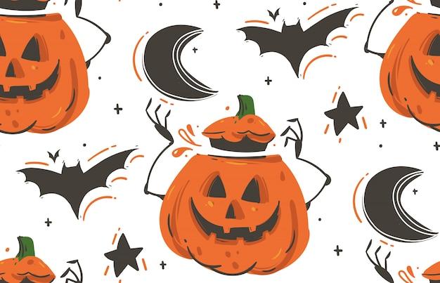 Desenho abstrato de mão desenhada feliz halloween ilustrações padrão sem emenda com morcegos, abóboras, lua e estrelas em fundo branco.