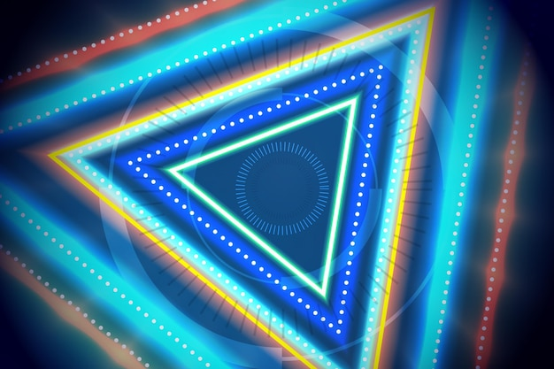 Desenho abstrato de triângulos de néon