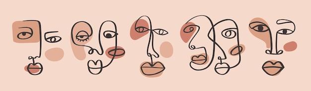 Desenho abstrato de uma linha contínua faces minimalismo arte contorno estético retrato tribal