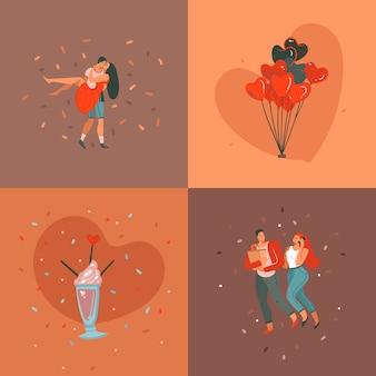 Desenho abstrato desenhado à mão feliz dia dos namorados com ilustrações