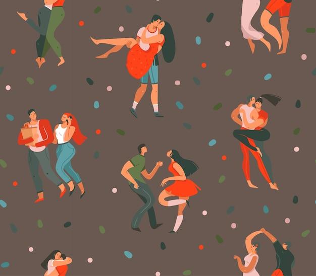 Desenho abstrato desenho animado gráfico moderno ilustrações de conceito de feliz dia dos namorados
