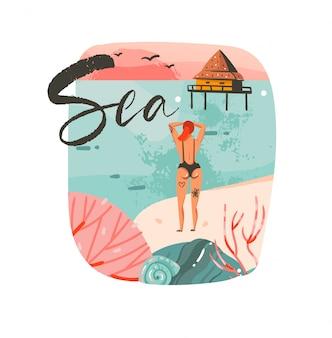 Desenho abstrato desenho animado, horário de verão, ilustrações gráficas, logotipo de fundo do modelo com paisagem de praia do oceano, casa de cabana de praia, pôr do sol rosa e garota da beleza com texto tipográfico do mar