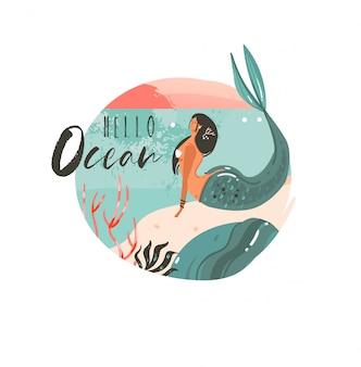Desenho abstrato desenho animado, horário de verão, ilustrações gráficas, modelo de arte, logotipo com a paisagem da praia do oceano, pôr do sol e menina sereia de beleza com a tipografia hello ocean